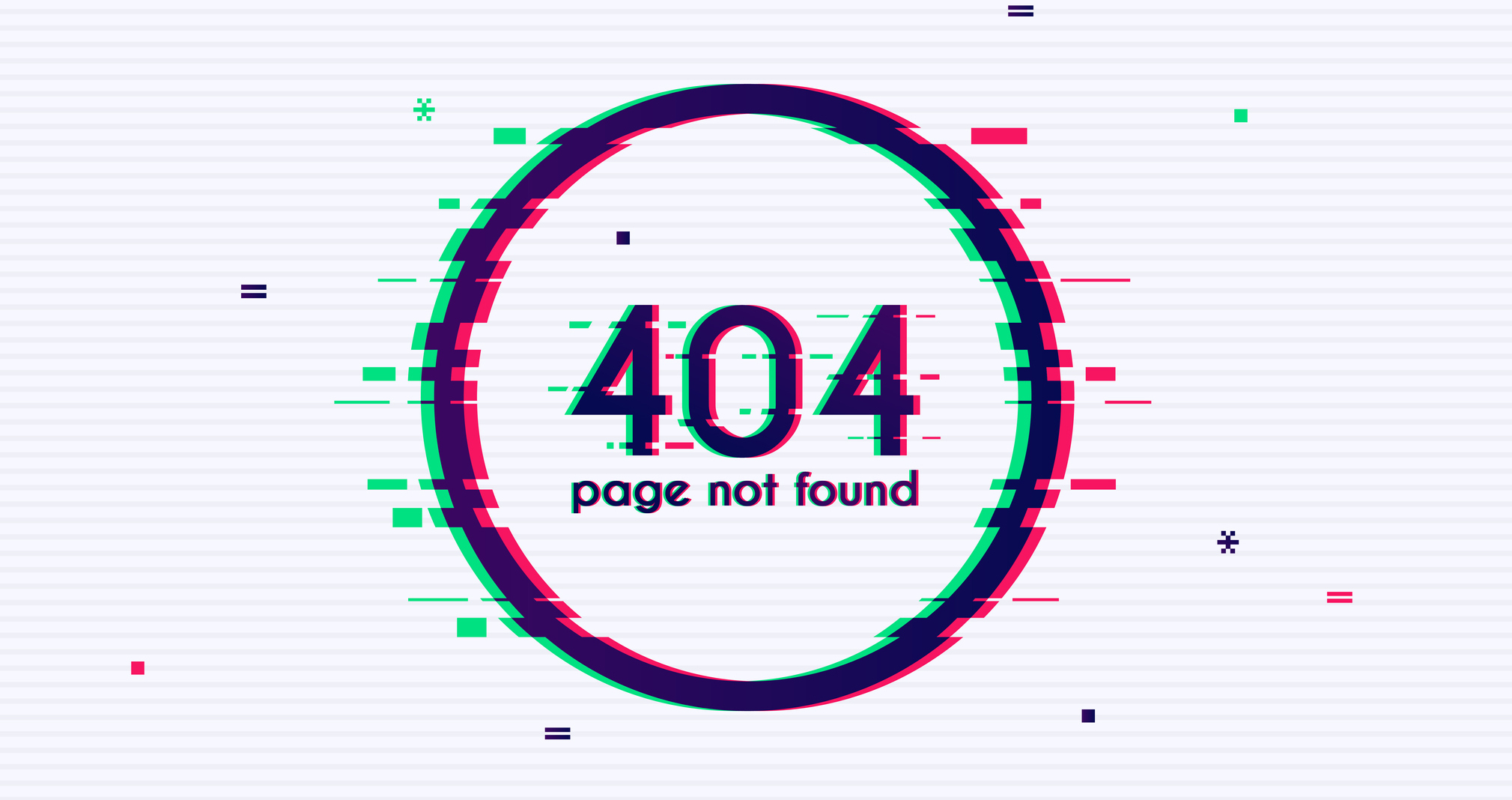 Error with glitch effect on screen. Error 404 page not found. Flat design modern vector illustration concept.
